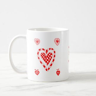Country style heart, small heart corners design mug