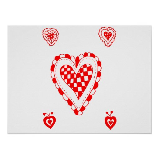 Country style heart, small heart corners design posters