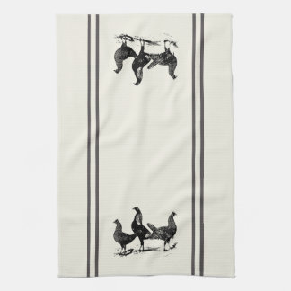 Country style Kitchen Towels chickens  and stripes