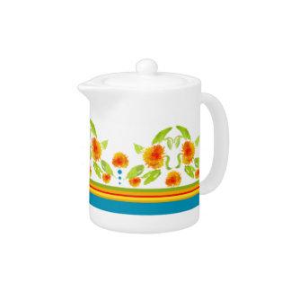 Country Style Marigolds Border White China Teapot
