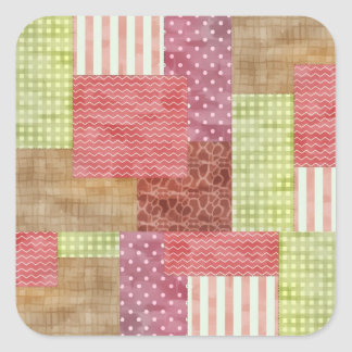 Country Style Patchwork Quilt Square Sticker