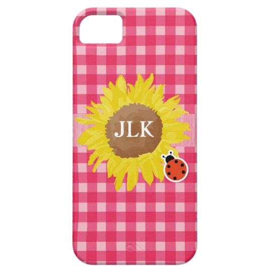 Country style pink plaids, sunflower, ladybug iPhone SE/5/5s case