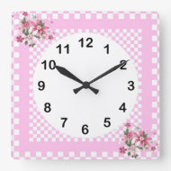 Country Style Pink White Check Floral Clock
