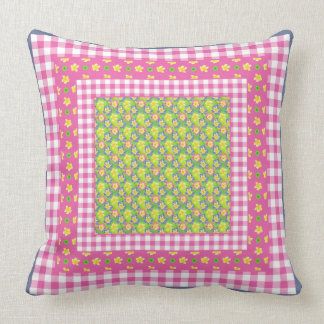 Country-style Primroses and Gingham Throw Pillow
