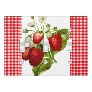 Country Style Red Gingham and Strawberries Light Switch Cover