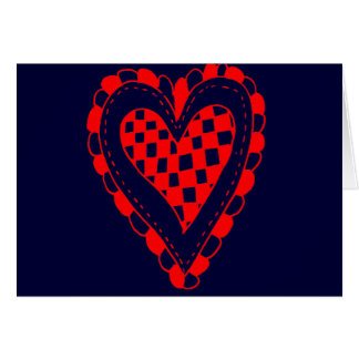 Country Style Red heart frilly edges design Greeting Card