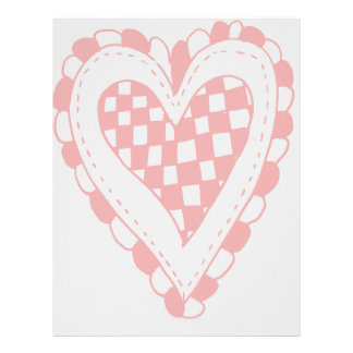 Country Style Red heart frilly edges design Customized Letterhead