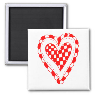 Country Style Red heart frilly edges design Magnet