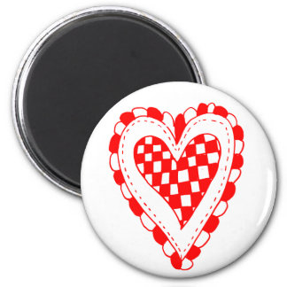 Country Style Red heart frilly edges design Fridge Magnets
