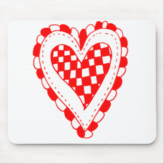 Country Style Red heart frilly edges design Mouse Pad