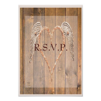 Country Style Rustic Angel Wings Wedding Card