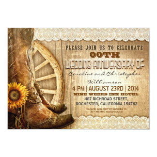 "country style rustic wood anniversary invitations 5"" x 7"" invitation card"