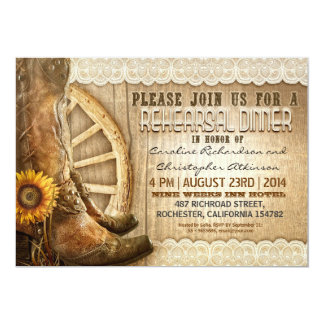 "country style rustic wood rehearsal dinner invites 5"" x 7"" invitation card"