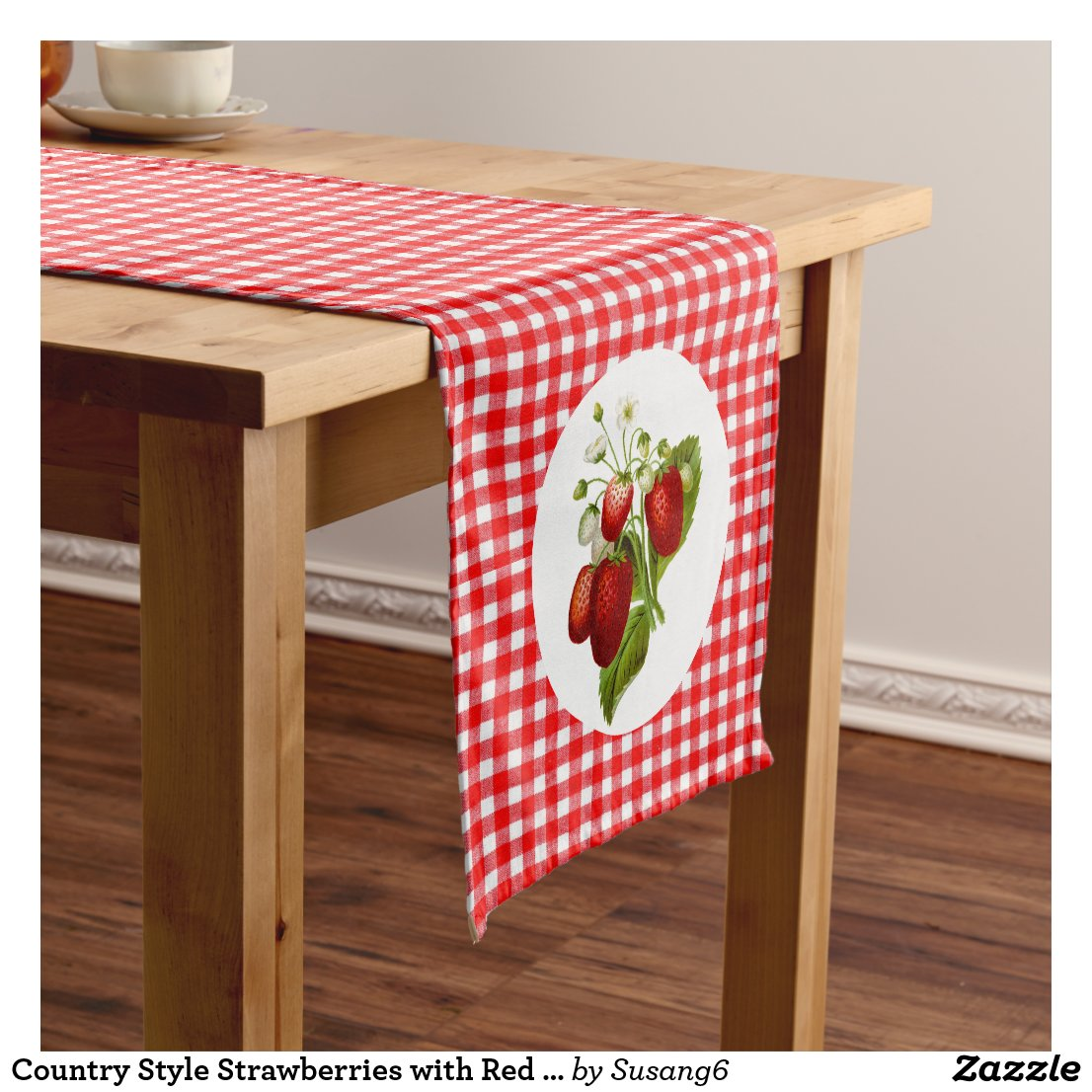 Country Style Strawberries with Red Gingham Short Table Runner