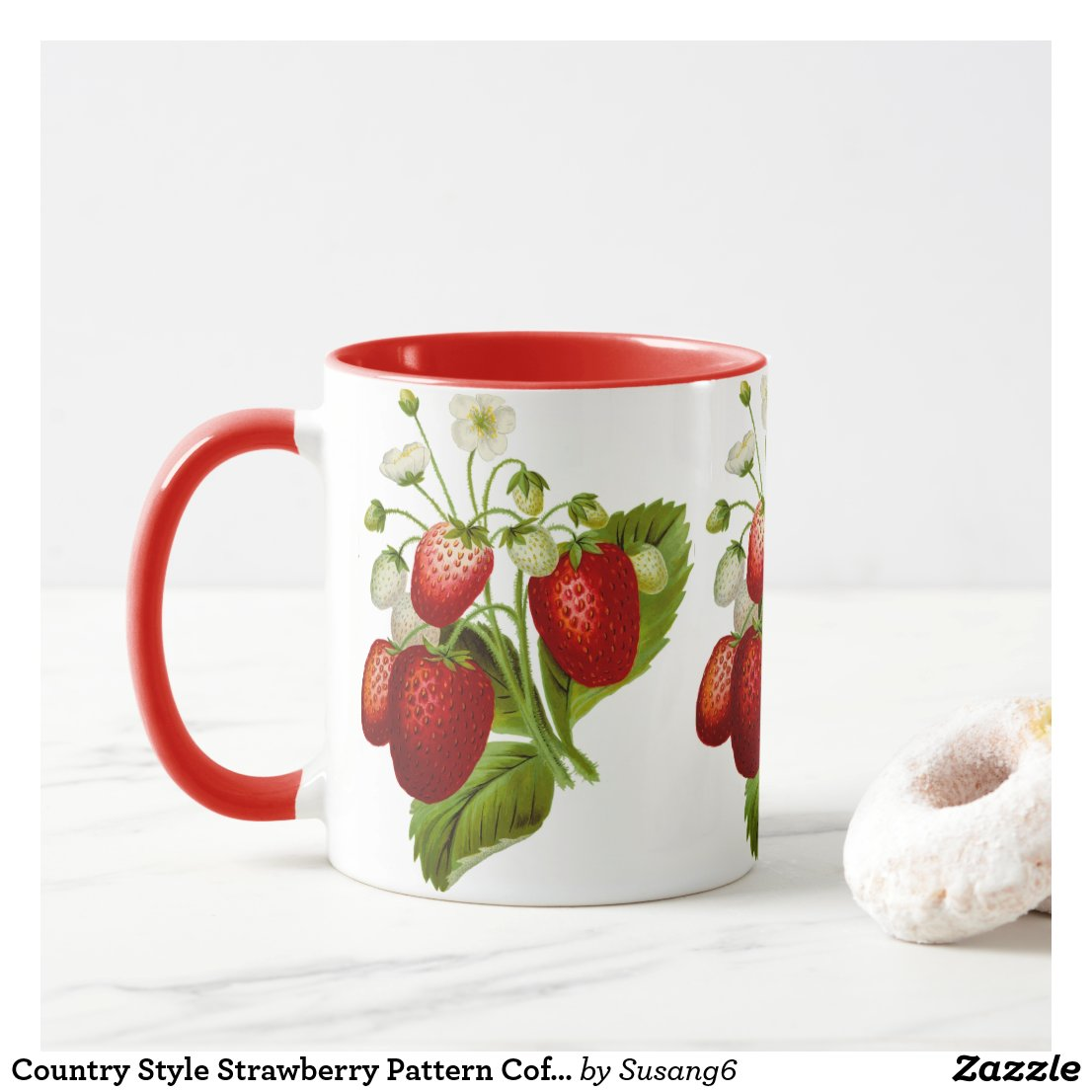 Country Style Strawberry Pattern Coffee Mug