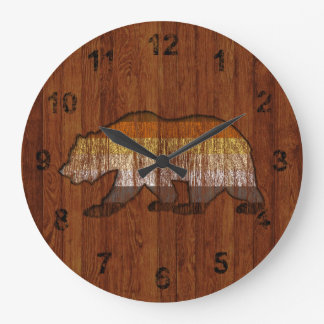 Country style Weathred Bear pride colors Wood Large Clock