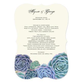 Country Succulent Wedding Menu Paper Card