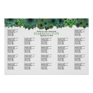 Country Succulents Border Wedding Seating Chart Poster