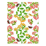 Country Summer Floral Greeting Card Postcards