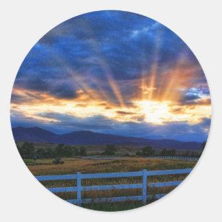 Country Sunbeam Ray Sunset Classic Round Sticker