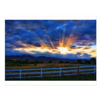 Country Sunbeam Ray Sunset Postcard
