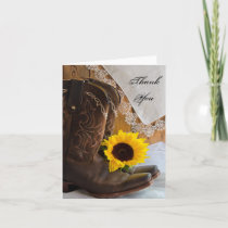 Country Sunflower and Lace Barn Wedding Thank You