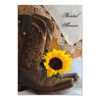 Country Sunflower and Lace Western Bridal Shower 5x7 Paper Invitation Card