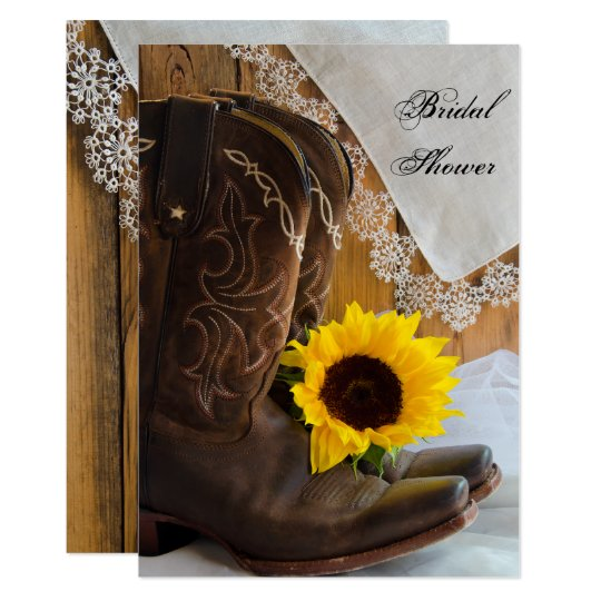 Country Sunflower and Lace Western Bridal Shower Card
