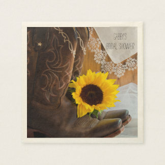 Country Sunflower and Lace Western Bridal Shower Napkin