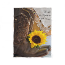 Country Sunflower and Lace Western Wedding Fleece Blanket