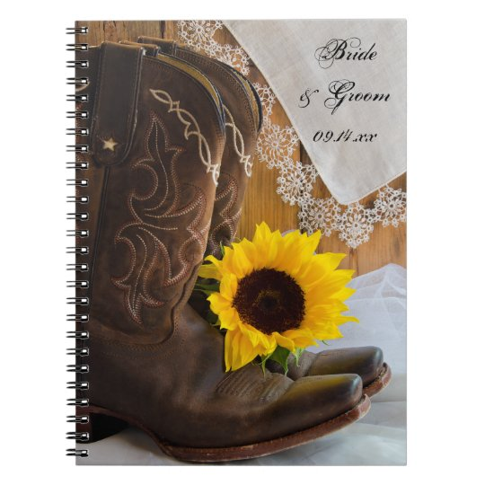 Country Sunflower and Lace Western Wedding Spiral Notebook