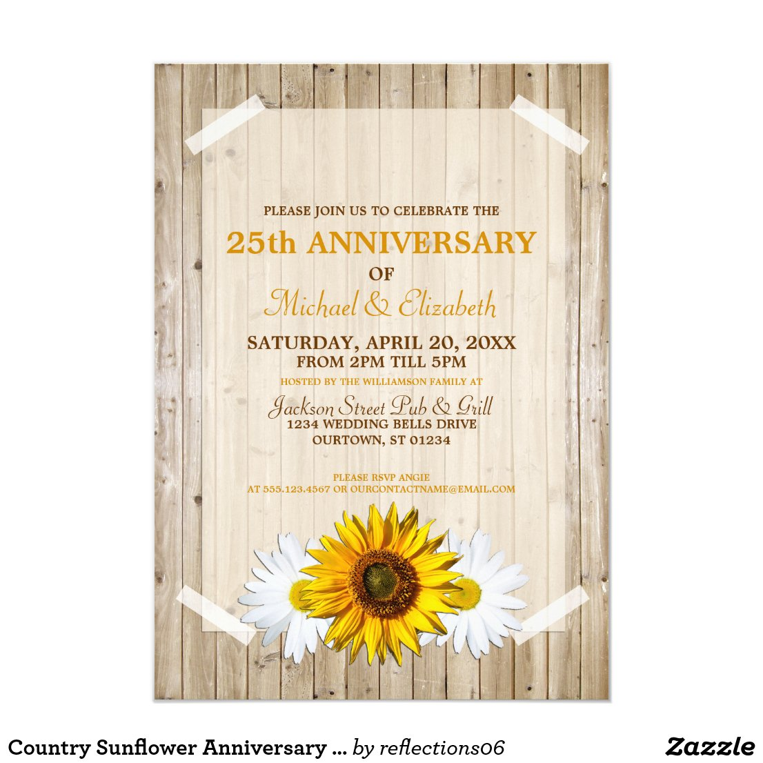Country Sunflower Anniversary Party Invitation