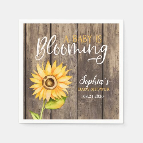 Country Sunflower Baby Shower Napkin