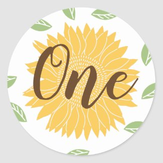 Country Sunflower Baby's 1st Birthday Classic Round Sticker