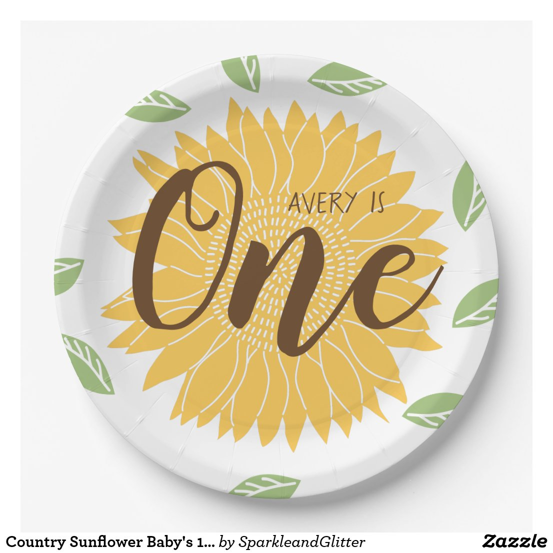 Country Sunflower Baby's 1st Birthday Paper Plate