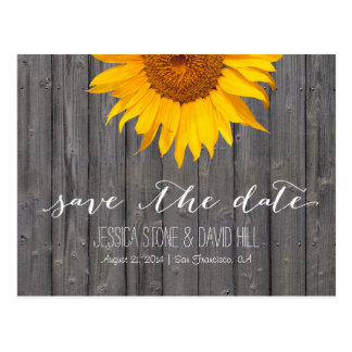 Country Sunflower Barn Wood Wedding Save the Date Post Card