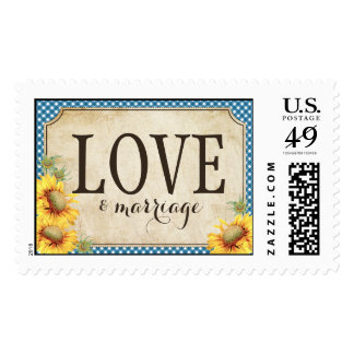 Country Sunflower Blue Gingham Rustic Love Wedding Postage