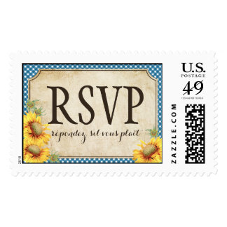 Country Sunflower Blue Gingham Rustic RSVP Wedding Postage