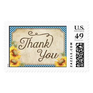 Country Sunflower Blue Gingham Rustic Thank You Postage