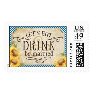 Country Sunflower Blue Gingham Rustic Wedding Postage