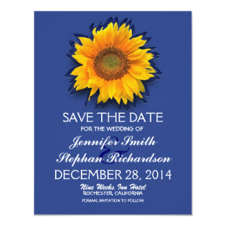 country sunflower blue save the date cards