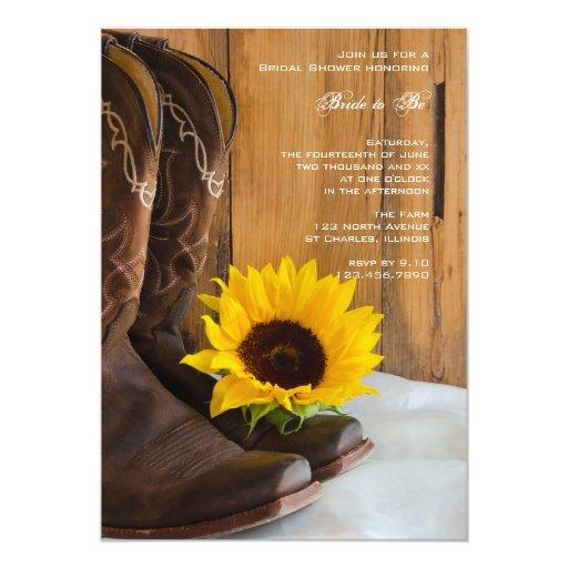 "Country Sunflower Bridal Shower Invitation 5"" X 7"" Invitation Card"