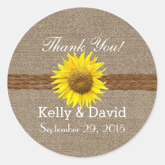 Country Sunflower Burlap Wedding Favor Stickers