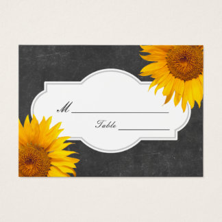 Country Sunflower Chalkboard Wedding Place/Seating Business Card