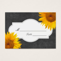 Country Sunflower Chalkboard Wedding Place/Seating Business Card at Zazzle