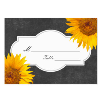 Country Sunflower Chalkboard Wedding Place/Seating Large Business Card