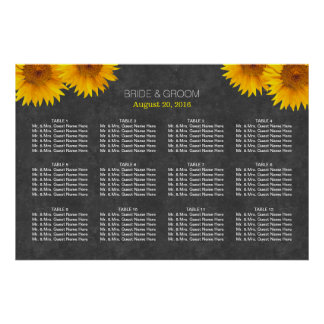 Country Sunflower Chalkboard Wedding Seating Chart