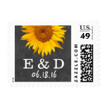 Country Sunflower Chalkboard Wedding Stamps