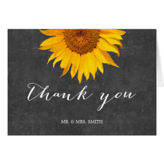 Country Sunflower Chalkboard Wedding Thank You Stationery Note Card