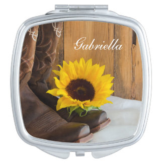 Country Sunflower Country Western Wedding Mirror For Makeup